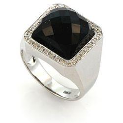 Перстень мужской с агатом и бриллиантами